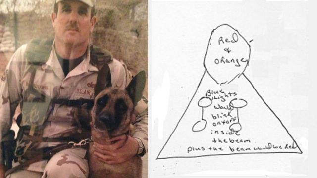 حارس الأمن التابع للقوات الجوية الأمريكية أعد رسماً توضيحياً لما رآه في تلك الليلة