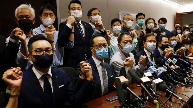 香港立法会民主派议员会见记者(11/11/2020)