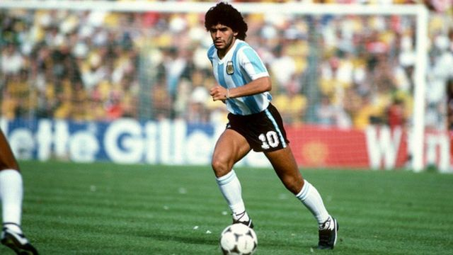 Maradona in the stadium