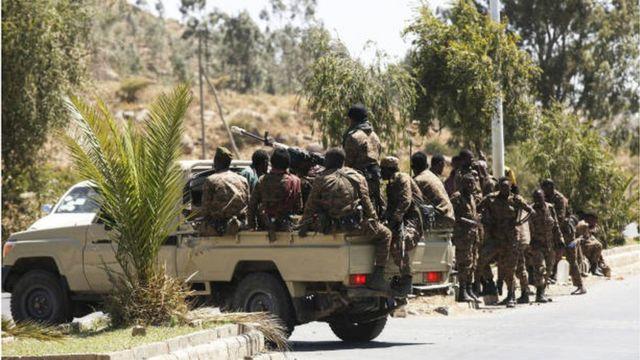 Ethiopian troops in Mekele, capital of the Tigray region