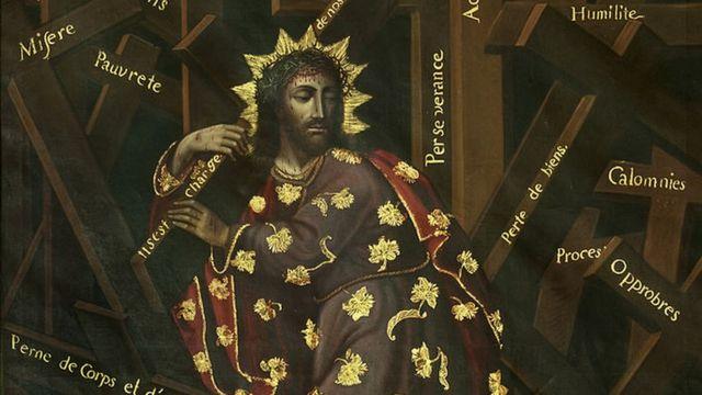 Jesus ante la cruz.