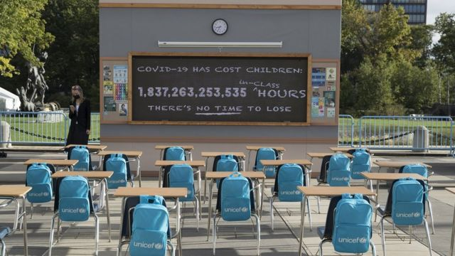 UNICEF unveils 'No Time to Lose' outside United Nations Headquarters to call attention to the education crisis brought by the COVID-19 pandemic during the 76th Session of the United Nations General Assembly on September 21, 2021 in New York, United States.