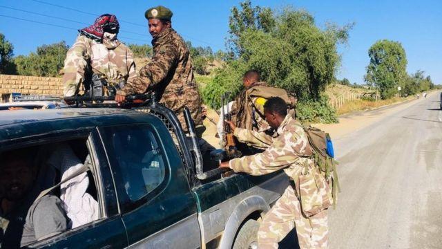 Ethiopian troops in the Tigray region