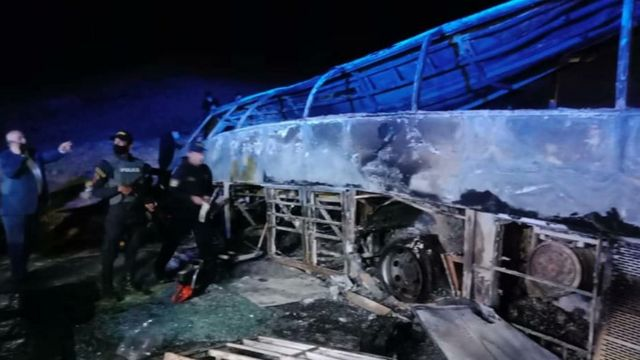 Charred bus