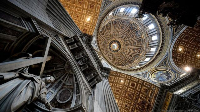 The dome of St Peter's Basilica at the Vatican