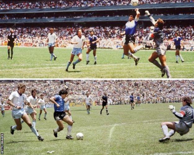 Diego Maradona ciyaartii koobka 1986-kii Britain wuxuu ka dhaliyey laba gool.