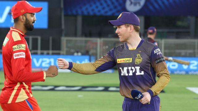 Punjab captain KL Rahul and Kolkata captain Eoin Morgan