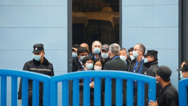 Members of the World Health Organization (WHO) team tasked with investigating the origins of the coronavirus disease (COVID-19) visit Huanan seafood market in Wuhan, Hubei province, China January 31, 2021.