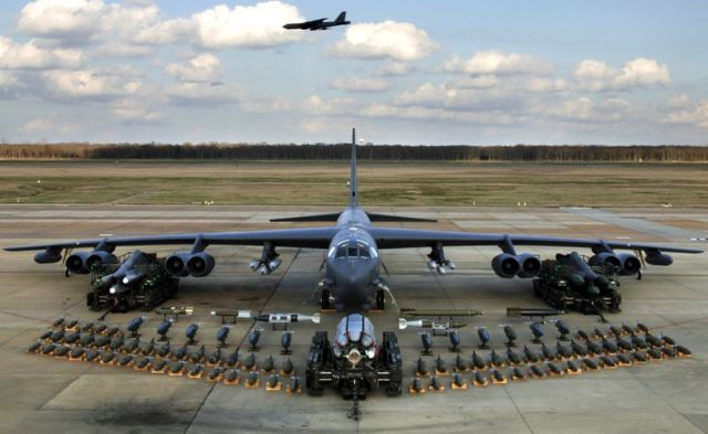 B-52 with payload at Barksdale