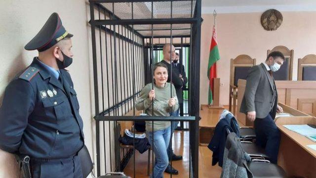 재판을 받고 있는 올가 클림코바와 세르게이 스코크