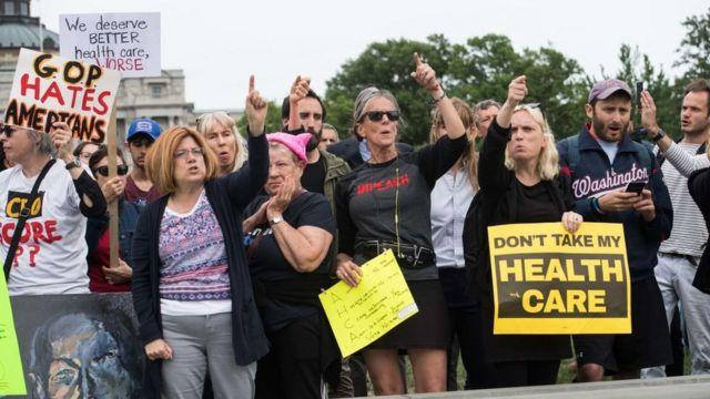 Manifestaci[on a favor del Obamacare.