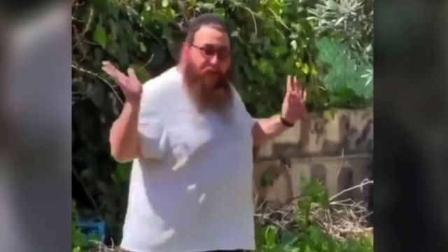 Close up of Yakov, an Israeli settler was captured on video in the garden of a Palestinian family's home in Sheikh Jarrah, East Jerusalem