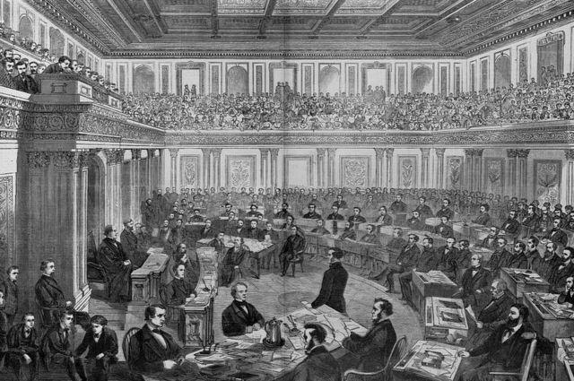Un grabado en madera muestra el juicio en el Senado de Andrew Johnson