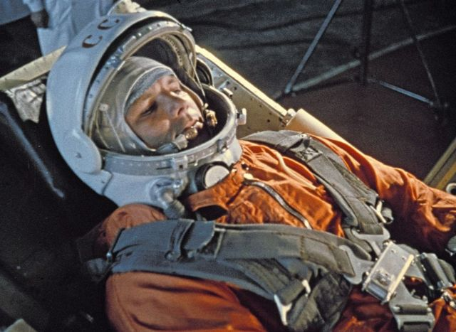 Yuri Gagarin, 1961, minutes before launch