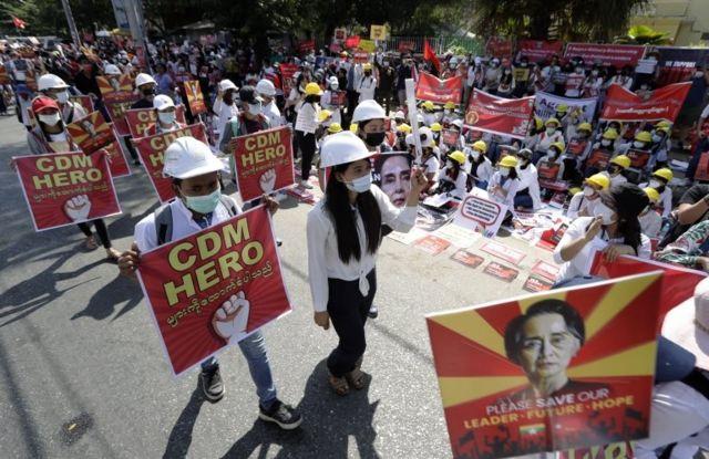 Protestas en Rangún