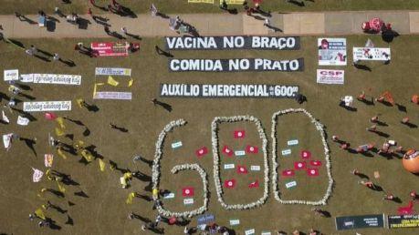 Protesto pela manutenção do auxílio emergencial em R$ 600. Brasília, maio de 2021