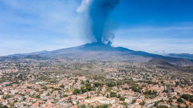 Mount Etna erupting, seen during the daytime