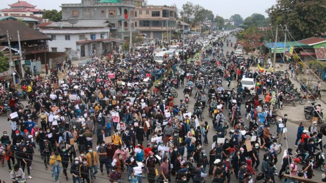 Protesters in Myitkyina in northern Kachin state