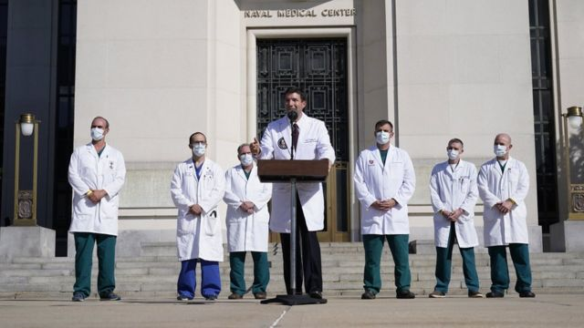 Dr Sean Conley outside Walter Reed Medical Center