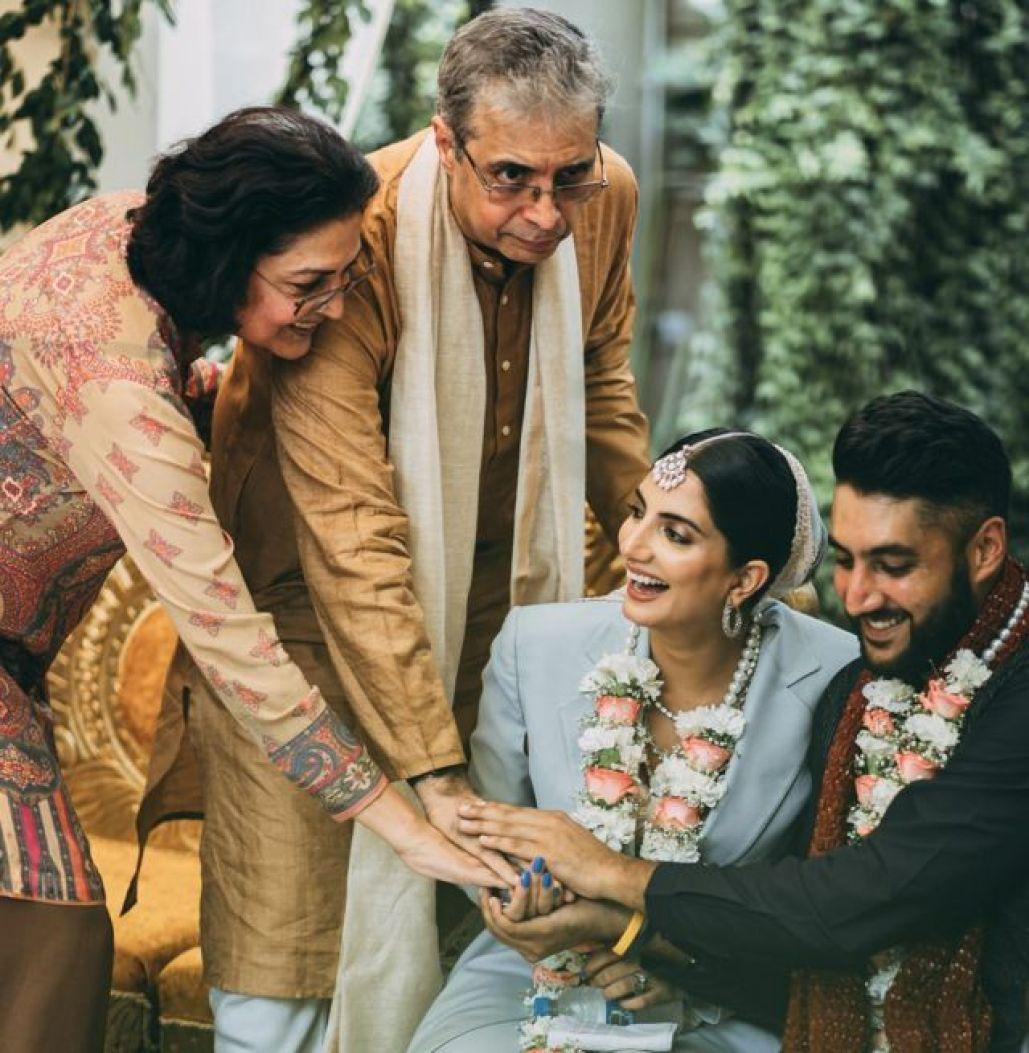Sanjana Rishi and Dhruv Mahajan at their wedding