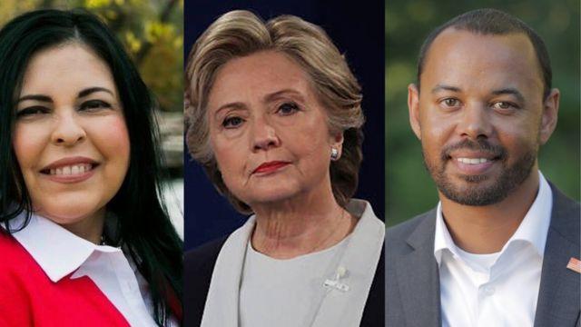 Composite of Naomi Narvaiz, Hillary Clinton, Khary Penebaker