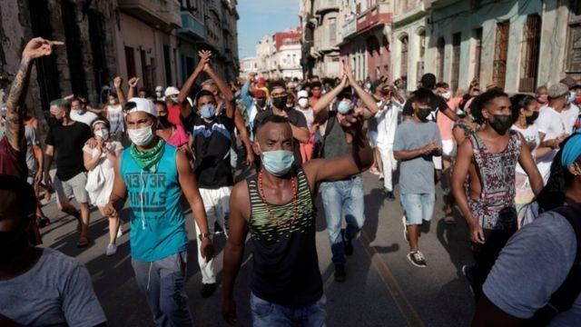 Protestas en Cuba el domingo 11 de julio.