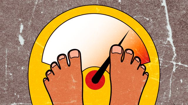 Illustration showing a pair of feet on a set of bathroom scales