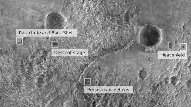 A primeira imagem da Perseverance na superfície foi tirada da câmera High Resolution Imaging Experiment a bordo do Mars Reconnaissance Orbiter da Nasa