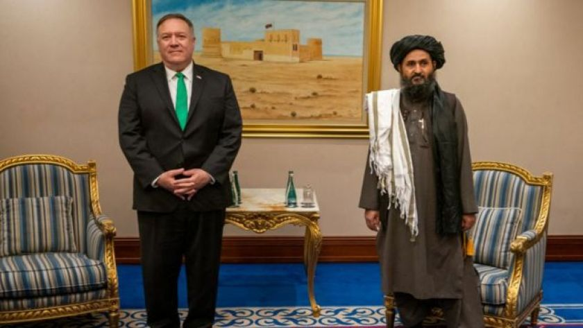 Mike Pompeo, former US Secretary of State, meets Taliban political affairs chief Mullah Abdul Ghani Baradar in Doha in 2020