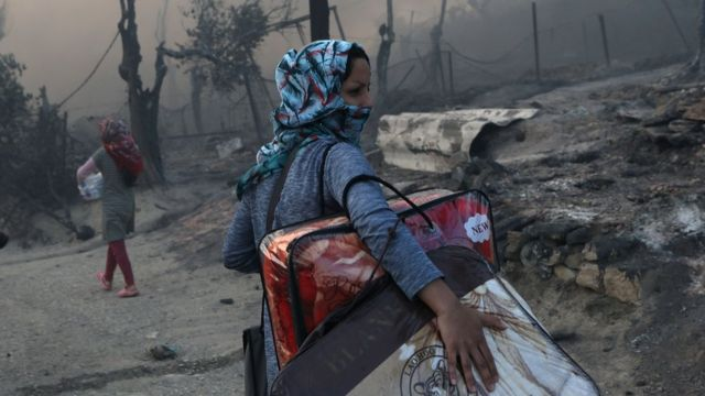 Fire breaks out at Greece's Moria camp on 9 September 2020