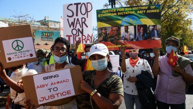 Ethiopians in Washington demanding an end to the war in Tigray.