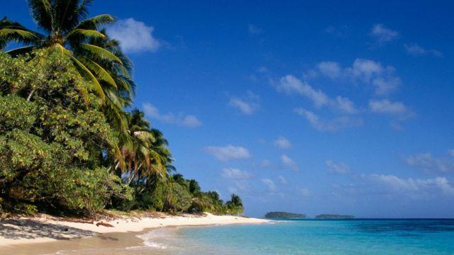 Una playa en las Islas Marshall.