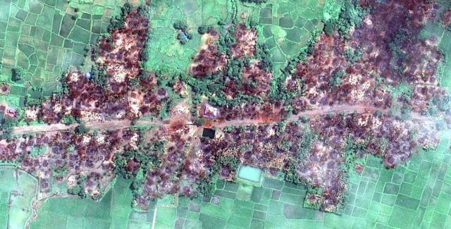 미얀마를 찍은 위성 이미지는 파괴된 로힝야족 마을을 드러냈다