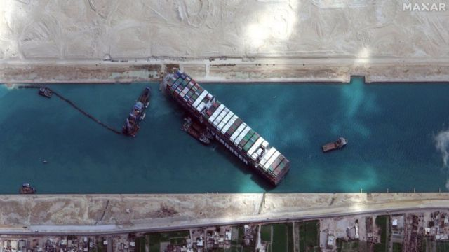 The position of the ship Sunday as captured by satellite.