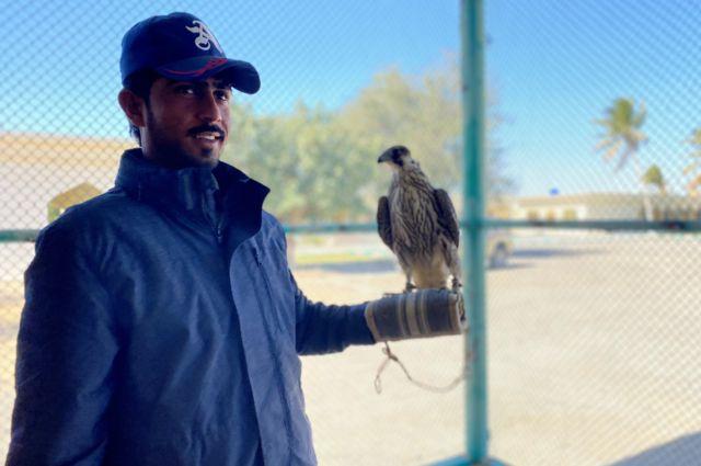 Falcon trainer at Hajj Hanif's house