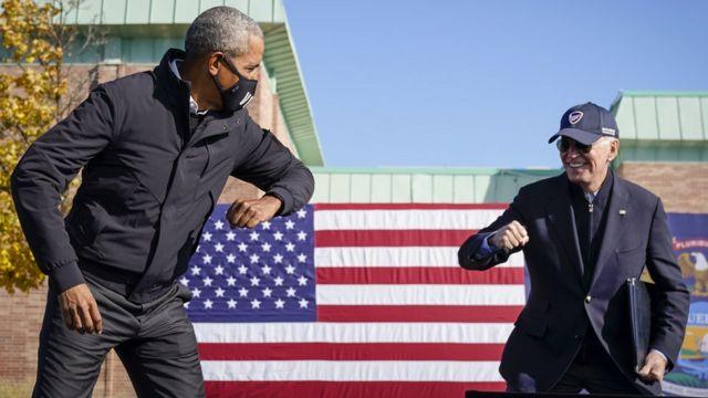 Former US President Barack Obama and Joe Biden