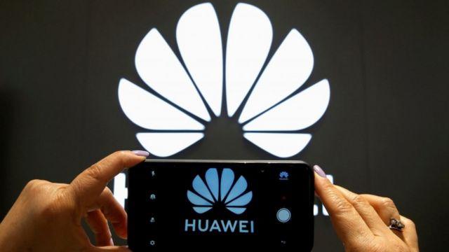 Logomarca e telefone da Huawei