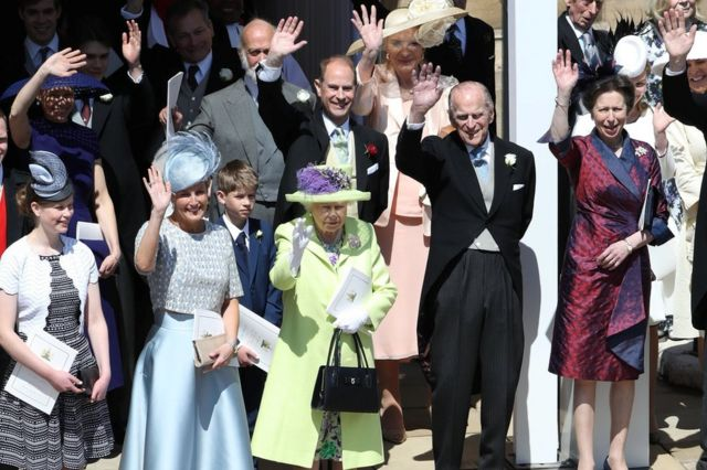 The Duke of Edinburgh retired from his official duties in 2017. In this photo, he is seen alongside Queen Elizabeth II and other members of the royal family during the wedding of the Duke and Duchess of Sussex in May 2018.