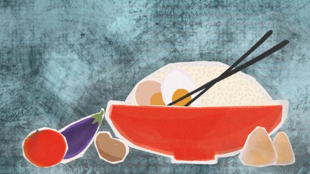 رسم توضيحي لطبق من الأرز ومعه خضراوات