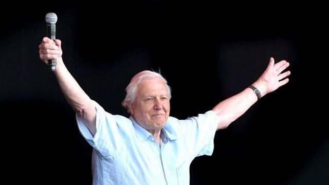 David Attenborough em frente a uma multidão no festival Glastonbury em junho de 2019