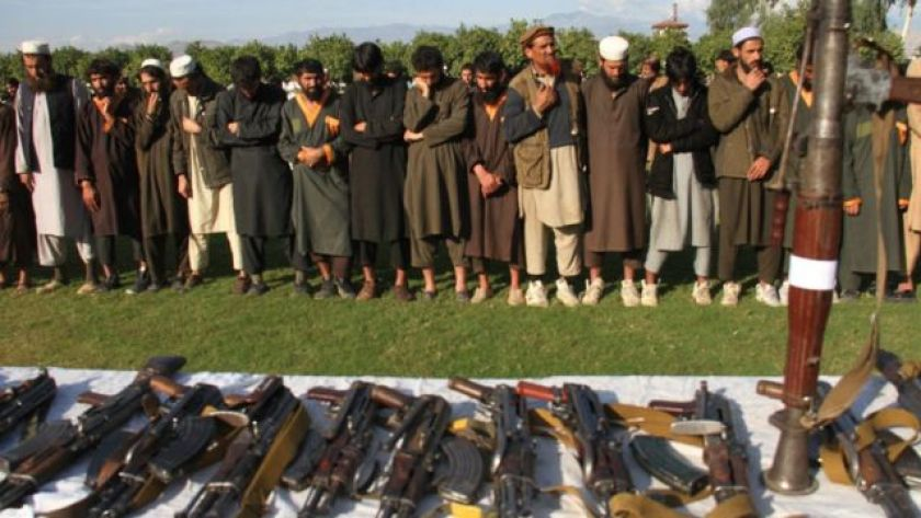 Islamic State fighters surrender to Afghan forces in 2019.