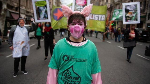 阿根廷多个城市去年曾爆发反对与中国签订猪肉生产协议的抗议。