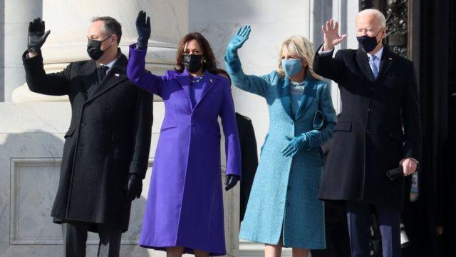 Kamala Harris, Joe Biden y sus parejas.