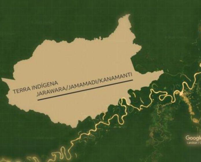 Mapa mostra terra indígena Jarawara/Jamamadi/Kanamanti, na região dos rios Juruá e Purus, no sul do Amazonas