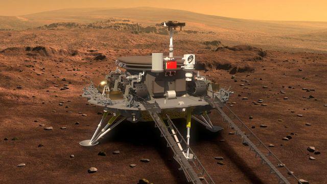 Artwork of Zhurong robot and lander