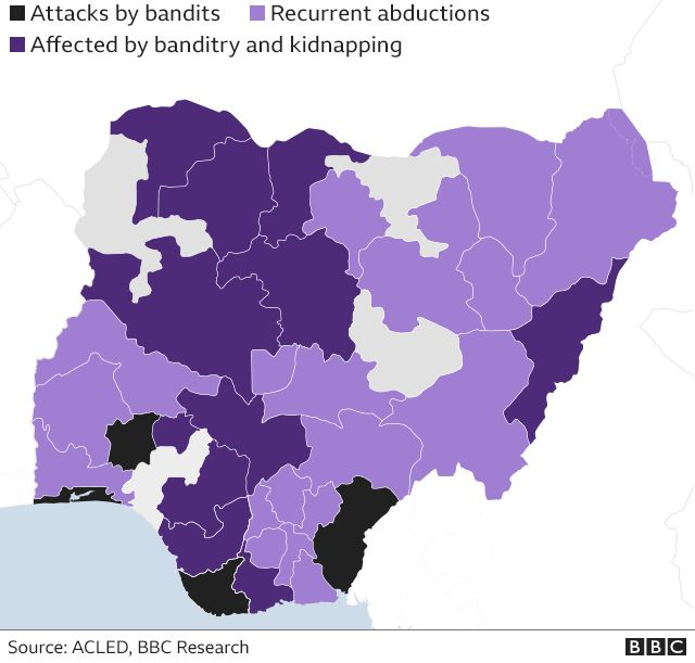 map showing areas worst affected by banditry and kidnapping
