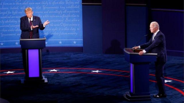 Donald Trump y Joe Biden en el debate