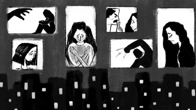 رسم تعبيري للعنف ضد المرأة