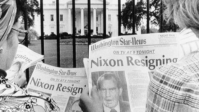 Front pages show Nixon's resignation