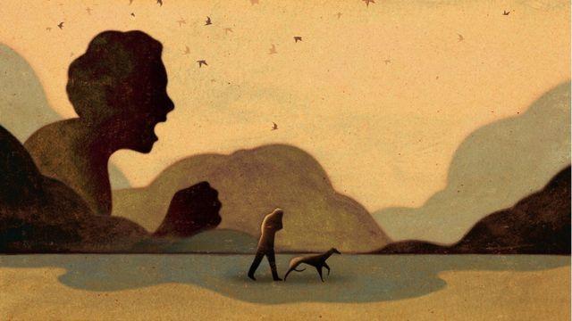 رسم توضيحي يظهر طفلاً يصرخ ، بينما يمشي شخص بالغ بجانب كلب